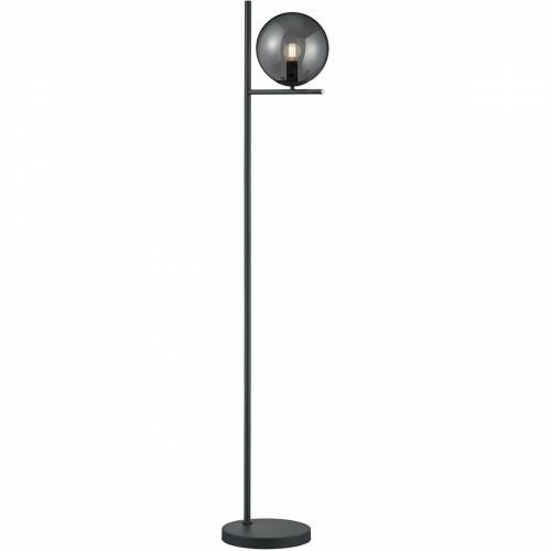 LED Vloerlamp - Trion Pora - E14 Fitting - Rond - Mat Zwart - Aluminium