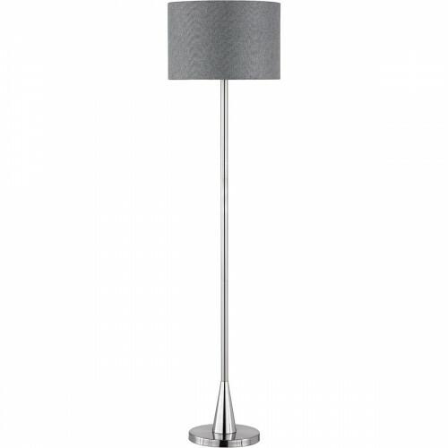 LED Vloerlamp - Trion Tinomi - E27 Fitting - Rond - Mat Nikkel - Aluminium
