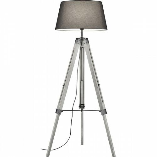 LED Vloerlamp - Trion Tripady - E27 Fitting - Rond - Mat Grijs - Hout