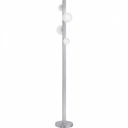 LED Vloerlamp WiZ - Smart LED - Trion Dulpio - 6W - Aanpasbare Kleur - Dimbaar - Afstandsbediening - Rond - Mat Nikkel - Aluminium
