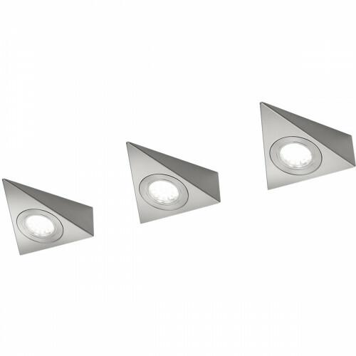 LED Keukenkast Verlichting - Trion Ecoli - 9W - 3-lichts - Warm Wit 3000K - Driehoek - Mat Nikkel - Aluminium