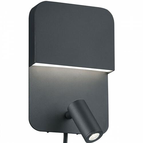 LED Wandlamp - Trion Liona - 7W - Warm Wit 3000K - Rechthoek - Mat Zwart - Aluminium