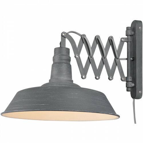 LED Wandlamp - Wandverlichting - Trion Detrino - E27 Fitting - Rond - Beton Look - Aluminium