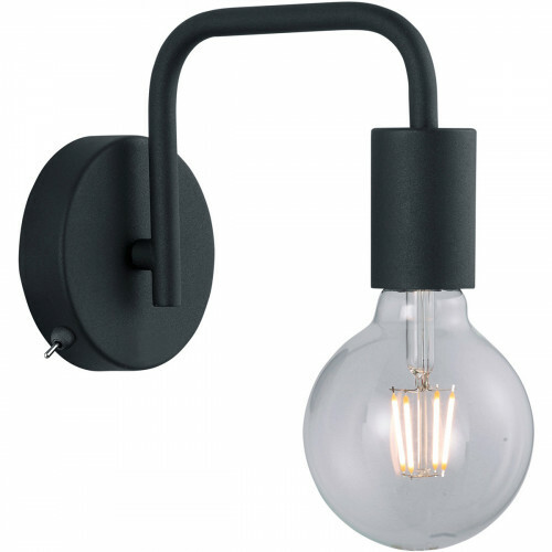 LED Wandlamp - Wandverlichting - Trion Dolla - E27 Fitting - Rond - Mat Zwart - Aluminium