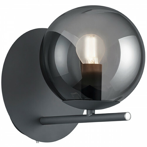 LED Wandlamp - Wandverlichting - Trion Pora - E14 Fitting - Rond - Mat Zwart - Aluminium