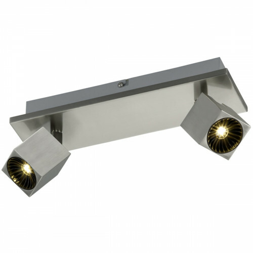 OSRAM - LED Plafondspot - Trion Klipo - 12W - Warm Wit 3000K - 2-lichts - Rechthoek - Mat Nikkel - Aluminium