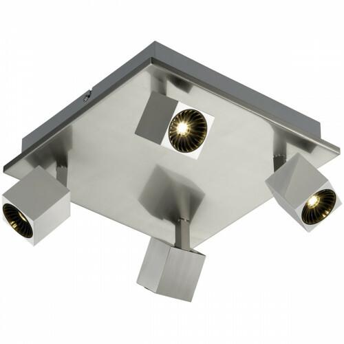 OSRAM - LED Plafondspot - Trion Klipo - 24W - Warm Wit 3000K - 4-lichts - Vierkant - Mat Nikkel - Aluminium