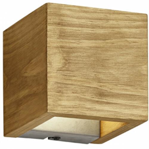 OSRAM - LED Wandlamp - Trion Brida - 4W - Warm Wit 3000K - 1-lichts - Vierkant - Mat Bruin - Natuurhout