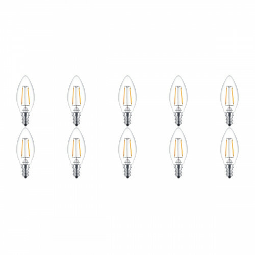 PHILIPS - LED Lamp 10 Pack Filament - Classic LEDCandle 827 B35 CL - E14 Fitting - 2W - Warm Wit 2700K | Vervangt 25W