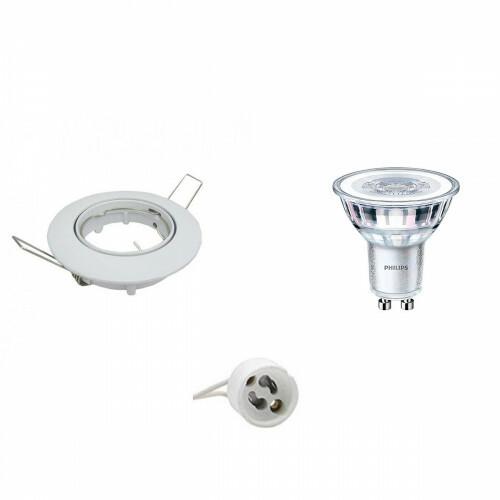 PHILIPS - LED Spot Set - CorePro 827 36D - GU10 Fitting - Dimbaar - Inbouw Rond - Glans Wit - 4W - Warm Wit 2700K - Kantelbaar Ø82mm