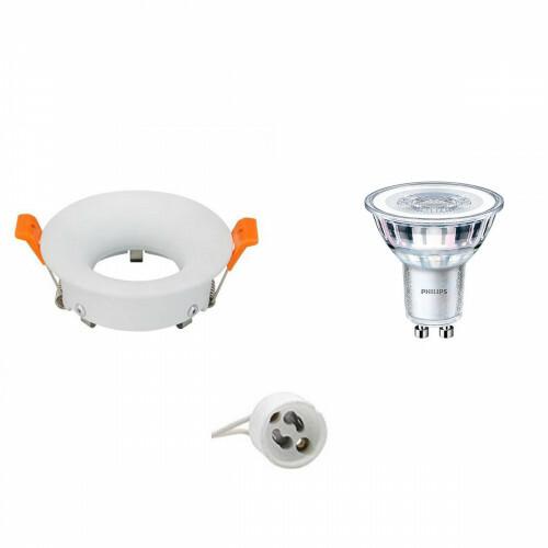 PHILIPS - LED Spot Set - CorePro 840 36D - GU10 Fitting - Dimbaar - Inbouw Rond - Mat Wit - 5W - Natuurlijk Wit 4000K - Ø85mm