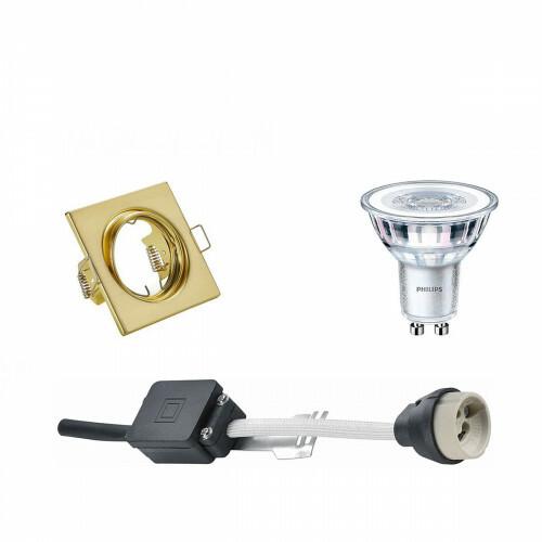 PHILIPS - LED Spot Set - CorePro 830 36D - GU10 Fitting - Inbouw Vierkant - Mat Goud - 3.5W - Warm Wit 3000K - Kantelbaar 80mm