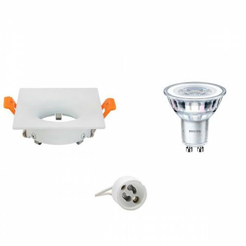 PHILIPS - LED Spot Set - CorePro 830 36D - GU10 Fitting - Dimbaar - Inbouw Vierkant - Mat Wit - 4W - Warm Wit 3000K - 85mm