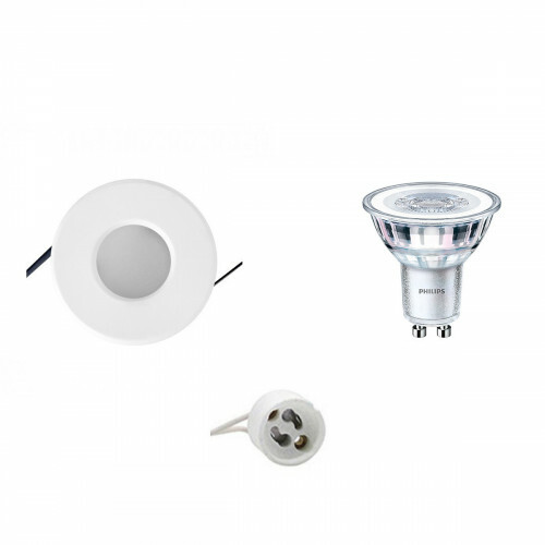 PHILIPS - LED Spot Set - CorePro 830 36D - Aigi - GU10 Fitting - Waterdicht IP65 - Dimbaar - Inbouw Rond - Mat Wit - 5W - Warm Wit 3000K - Ø82mm