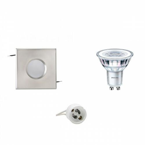 PHILIPS - LED Spot Set - CorePro 840 36D - Aigi - GU10 Fitting - Waterdicht IP65 - Dimbaar - Inbouw Vierkant - Mat Chroom - 5W - Natuurlijk Wit 4000K - 82mm