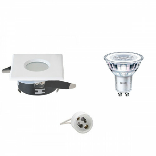 PHILIPS - LED Spot Set - CorePro 827 36D - GU10 Fitting - Waterdicht IP65 - Dimbaar - Inbouw Vierkant - Mat Wit - 5W - Warm Wit 2700K - 82mm