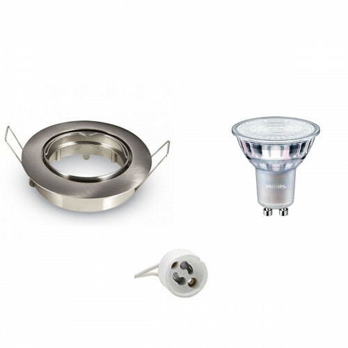 PHILIPS - LED Spot Set - MASTER 927 36D VLE - GU10 Fitting - DimTone Dimbaar - Inbouw Rond - Mat Chroom - 3.7W - Warm Wit 2200K-2700K - Kantelbaar Ø82mm