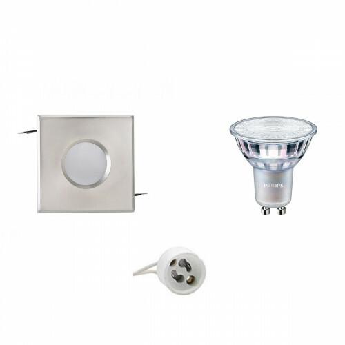 PHILIPS - LED Spot Set - MASTER 927 36D VLE - GU10 Fitting - Waterdicht IP65 - DimTone Dimbaar - Inbouw Vierkant - Mat Chroom - 3.7W - Warm Wit 2200K-2700K - 82mm