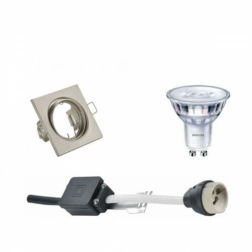 PHILIPS - LED Spot Set - SceneSwitch 827 36D - GU10 Fitting - Dimbaar - Inbouw Vierkant - Mat Nikkel - 1.5W-5W - Warm Wit 2200K-2700K - Kantelbaar 80mm