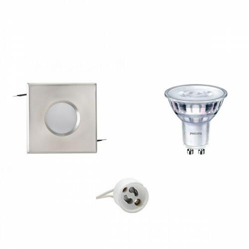 PHILIPS - LED Spot Set - SceneSwitch 827 36D - GU10 Fitting - Waterdicht IP65 - Dimbaar - Inbouw Vierkant - Mat Chroom - 1.5W-5W - Warm Wit 2200K-2700K - 82mm