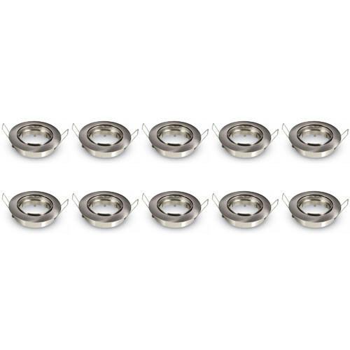 Spot Armatuur 10 Pack - Aigi - GU10 Fitting - Inbouw Rond - Mat Chroom Aluminium - Kantelbaar Ø82mm