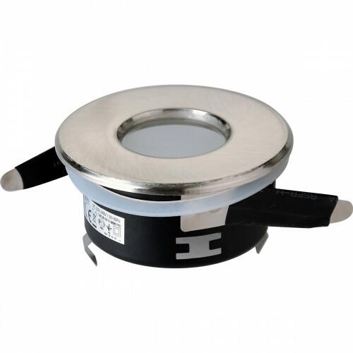 Spot Armatuur GU10 - Aigi - Waterdicht IP65 - Inbouw Rond - Mat Chroom Aluminium/Glas - Ø82mm