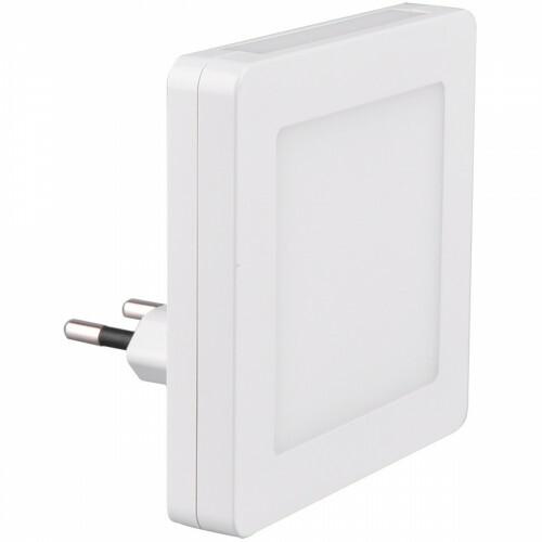 Stekkerlamp Lamp - Stekkerspot met Dag en Nacht Sensor Incl. Schakelaar - Trion Hiko - 0.3W - Warm Wit 3000K - Vierkant - Mat Wit - Kunststof
