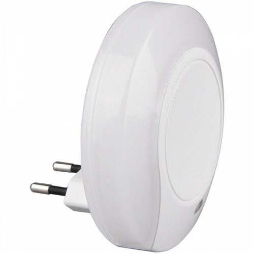 Stekkerlamp Lamp - Stekkerspot met Dag en Nacht Sensor Incl. Schakelaar - Trion Jiko - 0.4W - Warm Wit 3000K - Rond - Mat Wit - Kunststof