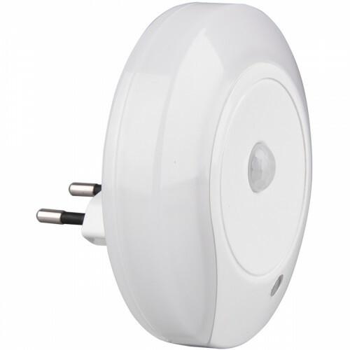 Stekkerlamp Lamp - Stekkerspot met Bewegingssensor Incl. Schakelaar - Trion Mirloni - 0.6W - Warm Wit 3000K - Rond - Mat Wit - Kunststof