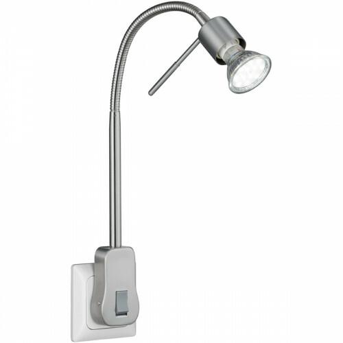 Stekkerlamp Lamp - Trion Loany - GU10 Fitting - 5W - Warm Wit 3000K - Dimbaar - Mat Nikkel - Aluminium