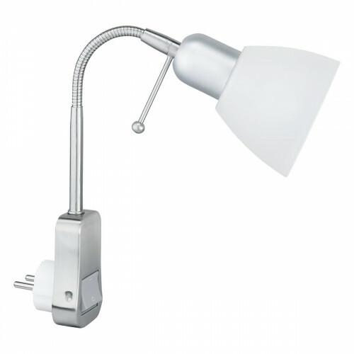 Stopcontact Lamp met Schakelaar - Trion - Rond - Mat Chroom - Aluminium - E14 - Stekkerlamp - Stekkerspot