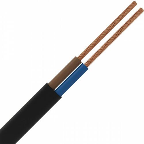 Stroomkabel - 2x0.75mm - 2 Aderig - 5 Meter - Zwart