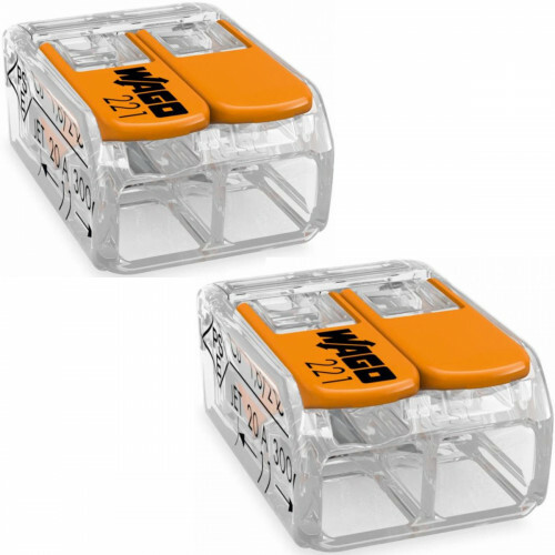 WAGO - Lasklem Set 2 Stuks - 2 Polig met Klemmetjes - Oranje