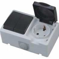 Buitenstopcontact - Serieschakelaar - Opbouw - Enkel/Dubbel - Geaard - Waterdicht IP54