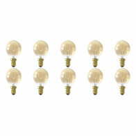 CALEX - LED Lamp 10 Pack - LED Kogellamp - Filament P45 - E14 Fitting - Dimbaar - 4W - Warm Wit 2100K - Amber
