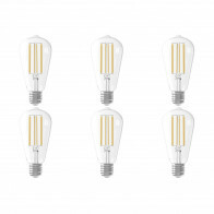 CALEX - LED Lamp 6 Pack - Filament ST64 - E27 Fitting - Dimbaar - 4W - Warm Wit 2300K - Transparant Helder
