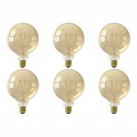 CALEX - LED Lamp 6 Pack - Globe - Smart LED G125 - E27 Fitting - Dimbaar - 7W - Aanpasbare Kleur CCT - Goud