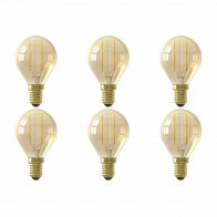 CALEX - LED Lamp 6 Pack - Kogellamp P45 - E14 Fitting - 2W - Warm Wit 2100K - Goud