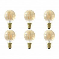 CALEX - LED Lamp 6 Pack - Kogellamp P45 - E14 Fitting - 3W - Dimbaar - Warm Wit 2100K - Goud