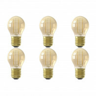 CALEX - LED Lamp 6 Pack - Kogellamp P45 - E27 Fitting - 2W - Warm Wit 2100K - Goud