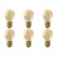 CALEX - LED Lamp 6 Pack - Kogellamp P45 - E27 Fitting - Dimbaar - 3W - Warm Wit 2100K - Goud