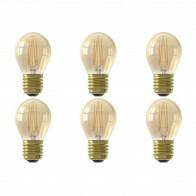 CALEX - LED Lamp 6 Pack - Kogellamp P45 - E27 Fitting - Dimbaar - 3W - Warm Wit 2100K - Goud
