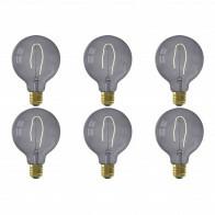 CALEX - LED Lamp 6 Pack - Nora Topaz G95 - E27 Fitting - Dimbaar - 4W - Warm Wit 2200K - Grijs