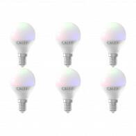 CALEX - LED Lamp 6 Pack - Smart Kogellamp - E14 Fitting - Dimbaar - 5W - Aanpasbare Kleur CCT - RGB - Mat Wit