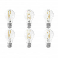CALEX - LED Lamp 6 Pack - Smart LED A60 - E27 Fitting - Dimbaar - 7W - Aanpasbare Kleur CCT - Transparant Helder