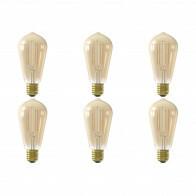 CALEX - LED Lamp 6 Pack - Smart LED ST64 - E27 Fitting - Dimbaar - 7W - Aanpasbare Kleur CCT - Goud
