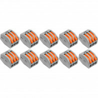 Lasklem Set 10 Stuks - 3 Polig met Klemmetjes - Grijs/Oranje