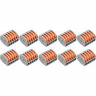Lasklem Set 10 Stuks - 5 Polig met Klemmetjes - Grijs/Oranje