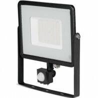 SAMSUNG - LED Bouwlamp 50 Watt met Sensor - LED Schijnwerper - Viron Dana - Warm Wit 3000K - Mat Zwart - Aluminium