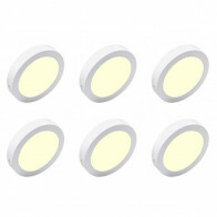 LED Downlight 6 Pack - Opbouw - Rond 18W - Warm Wit 3000K - Mat Wit Aluminium - Ø225mm